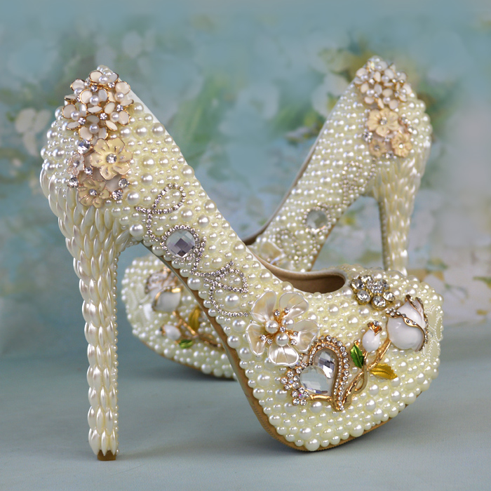 Spring Women Wedding Shoes White Crystal Pearl High Heels Women's Pumps Rhinestone Platform Shoes Woman Elegant Bridal Shoes