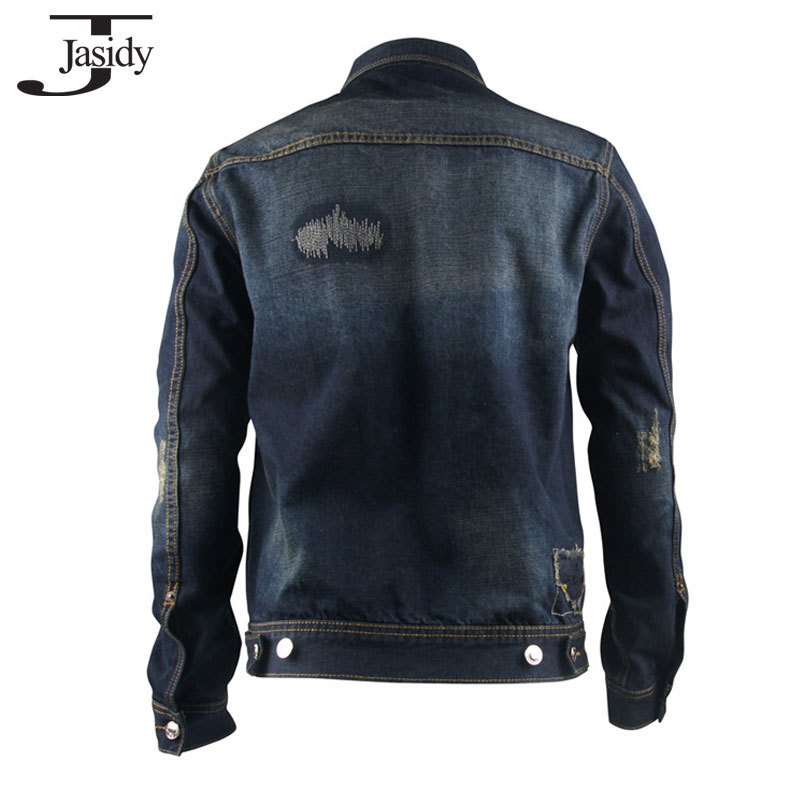 Ripped Mens Denim Jacket Long Sleeve Turn down Collar jeans jacket men Cotton Spring Autumn Winter