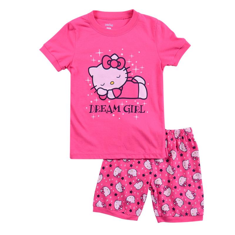 Children Baby Girl's Kids Cartoon Cat Sofia Princess Batman Shorts Sleeve Pajamas Pijamas Suit Sleepwear Homewear Pyjamas Sets(China (Mainland))