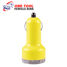 2016 Auto Universal Dual USB Car Charger For iPad IPhone 5V 2.1A Mini Adapter Yellow Car Accessories  Free Shipping(China (Mainland))