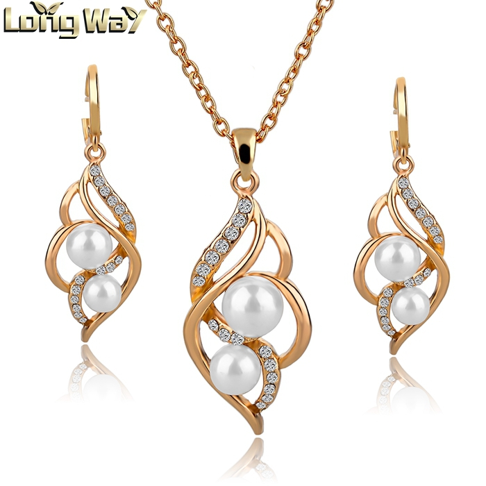 Trendy Indian Jewelry Set Wedding Accessories Gold Silver Earrings Pearl Jewelry Set Women Necklace Set SET140024(China (Mainland))