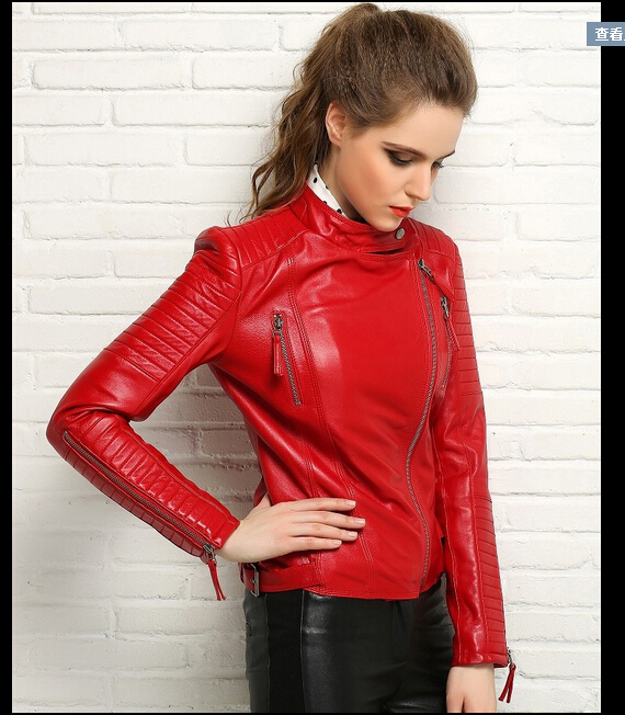 2015 new womens hot water pu leather motorcycle leather jacket oblique zipper short coat handsome leather clothing / S-XXLОдежда и ак�е��уары<br><br><br>Aliexpress