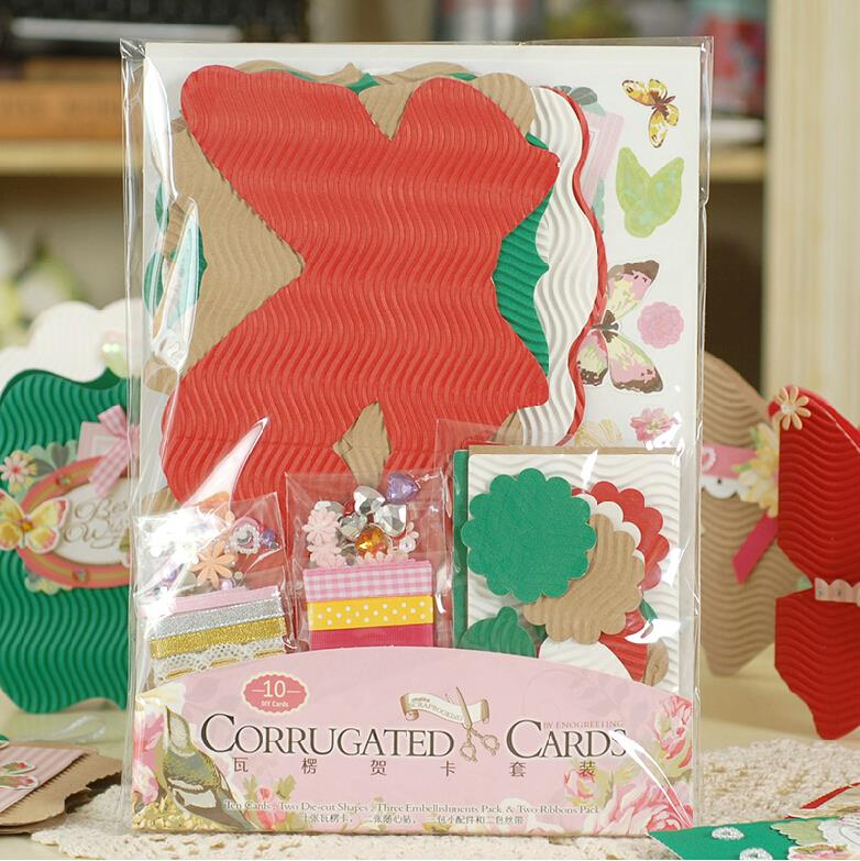 Creative Corrugated Cards Make Your Own Paper Die Cuts ,Creative Greeting Card Making Kit For Kids/Gift Tag(China (Mainland))