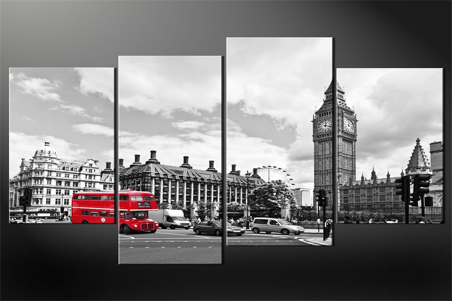 Custom red bus wallpaper london old view wall stickers big for Black and white london mural wallpaper