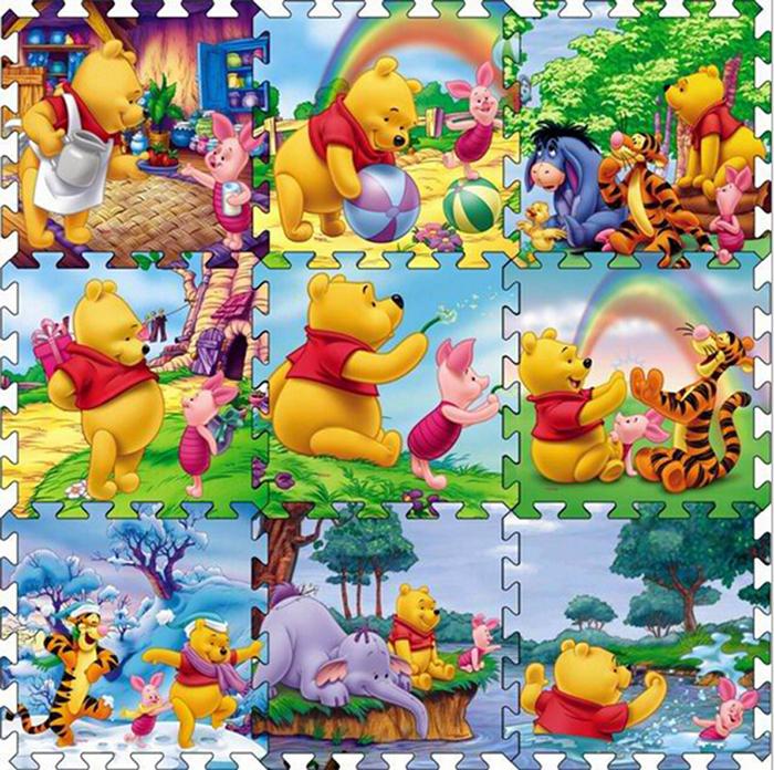 9pcs/set Winnie Baby Play Mat,Child Interlocking Crawling Floor Mat Climb Blanket Game Carpet Eva Foam Puzzle Mat Baby Toys W290(China (Mainland))