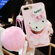 Cute 3D KT Cat Cartoon With Fur Ball Mirror Case For iphone 7 6 6s plus Soft Back Cover Makeup Phone Cases Shell Fundas(China (Mainland))