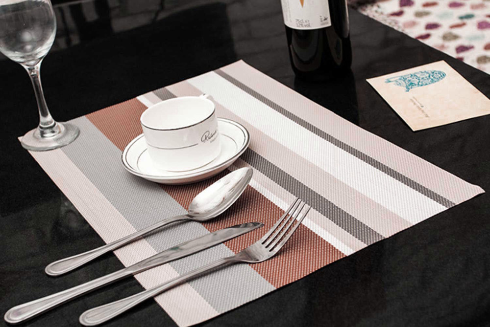 2015 New Light Grey color PVC Table Mat With Woven Design Plastic Placemat 4pcs/lot H03441(China (Mainland))