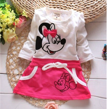 Retail Hot New Cotton Spring/Summer Baby Girls Dress Long Sleeve Fashion Girl Dress Printing Minnie Mouse(China (Mainland))