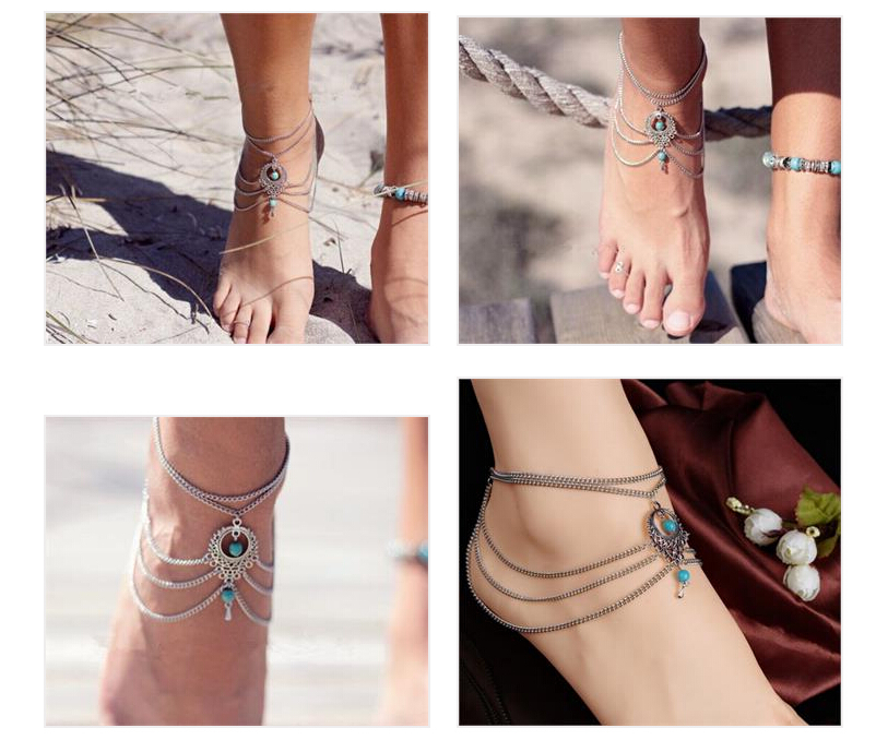 Boho Ethnic Turquoise Beads Anklets Chic Tassel Foot Chain Anklet Bracelet Body Jewelry Anklets For Women Free Shipping(China (Mainland))