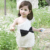 New Kids Toddlers Girls One Piece Dress Bow-knot One Shoulder Lace dress 1-7Y