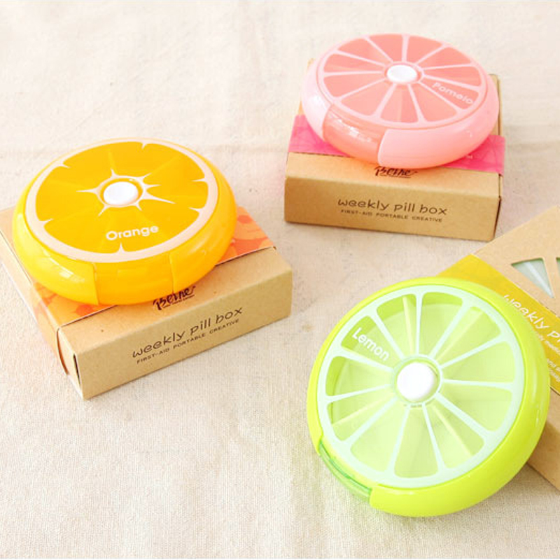 Brand New Rotating Pill Box Travel Portable Medicine Case 7 Days Pill Storage Boxes Drug Container Weekly Pill Organizer(China (Mainland))