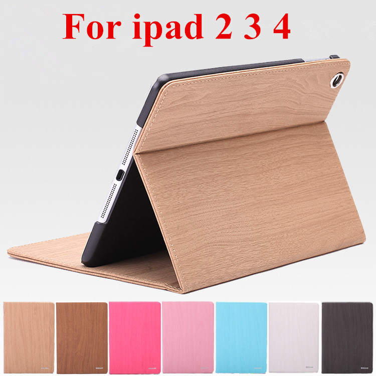 Wood Grain Flip Ultra Thin Foldable Stand Leather Case for ipad 2 ipad 3 ipad 4 Smart Cover for apple ipad 2 3 4 automatic sleep(China (Mainland))