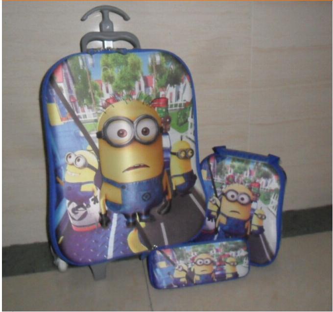3 Wheels 3D Trolley School Pull rod box set, Minions EVA boy Bags +Lunch Box +pencil Case 1set
