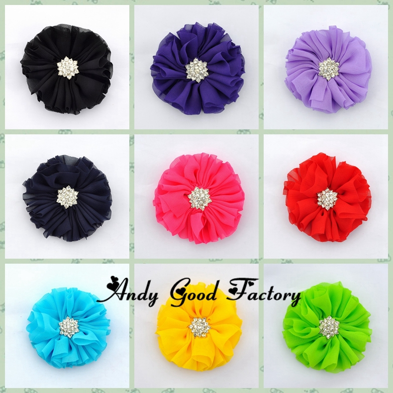 2.3 New Fashion Chiffon Flowers Accessories With Starburst Button Artificial Satin Flowers For Headband 200pcs/lot FL037<br><br>Aliexpress