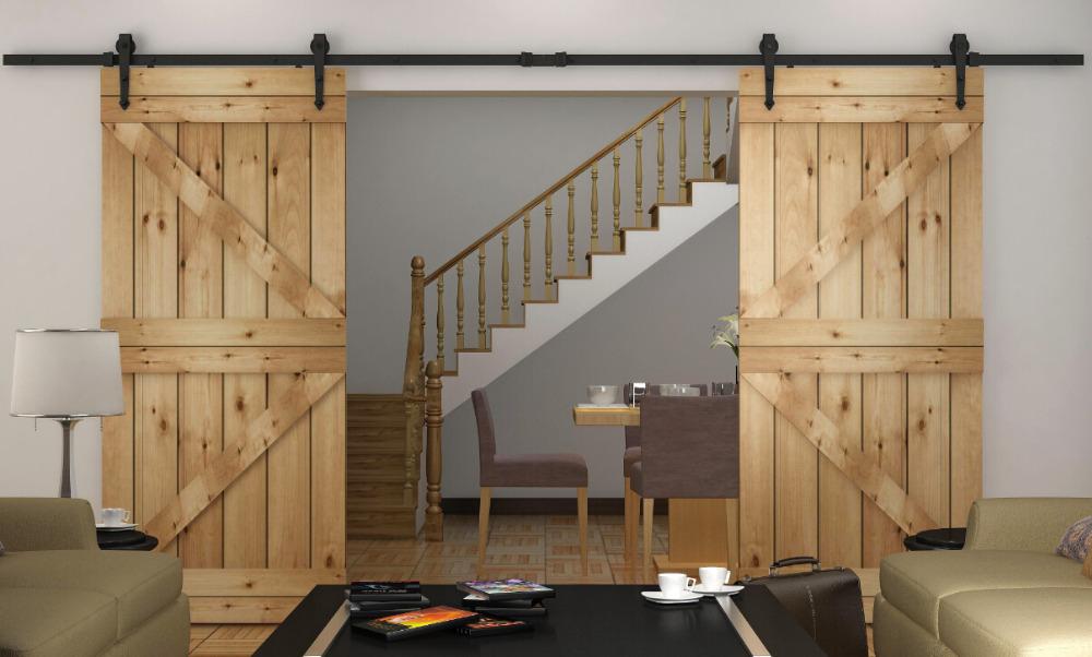 8 2 10 12ft Rustic Sliding Barn Wood Closet Door Interior Sliding Door Bi Parting Barn Door