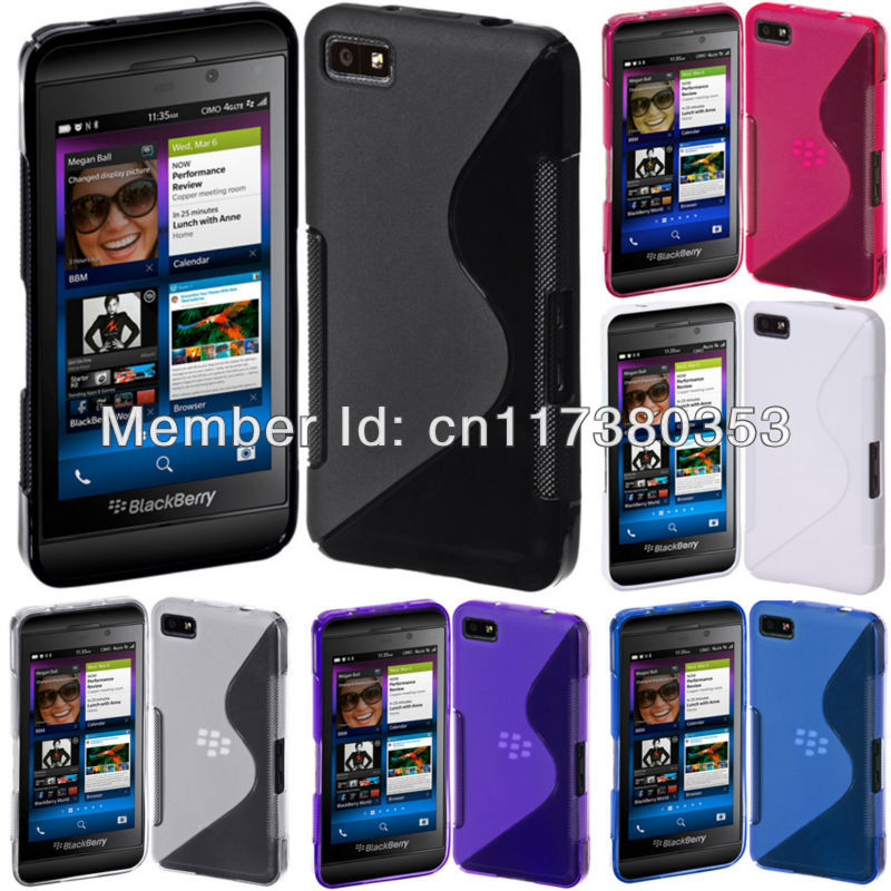 Black New Arrival Soft TPU Gel S-Line Curve SKin Cover Case for Blackberry Z10 Multiple Color(China (Mainland))