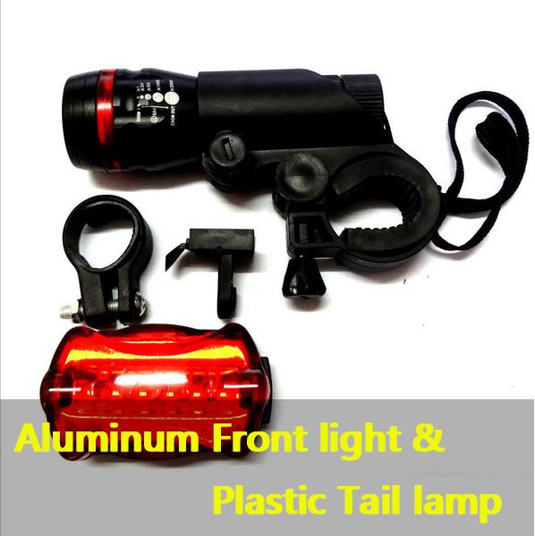 free shipping 1Sets led Light 5 Watt Lumens LED Bike Light Black Bicycle Front Torch Warning lamp(China (Mainland))