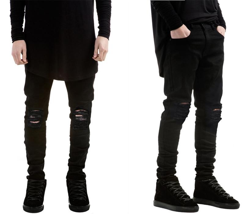 men brand skinny jeans 2015 runway destroyed denim biker jeans hip hop. Black Bedroom Furniture Sets. Home Design Ideas