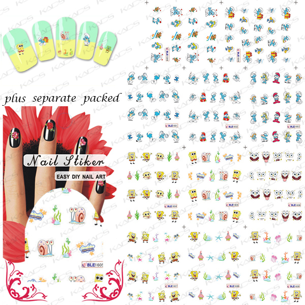 New Arrival 20sheet/lot SpongeBob Cartoon Nail Art Water Decals Transfer Sticker for nail accessories+individually package