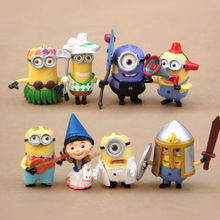 8Pcs/set New Minions 2015 Toys Minion Figure Toy Ornament Christmas Gift Despicable Me 2 doll decoration hand-done Brinquedos