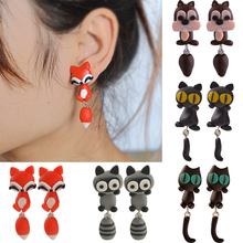 New 100% Handmade Polymer Clay Cute Cat Red Fox Lovely Panda Squirrel Tiger Animal Stud Earrings Ear Stud Jewelry Brincos(China (Mainland))