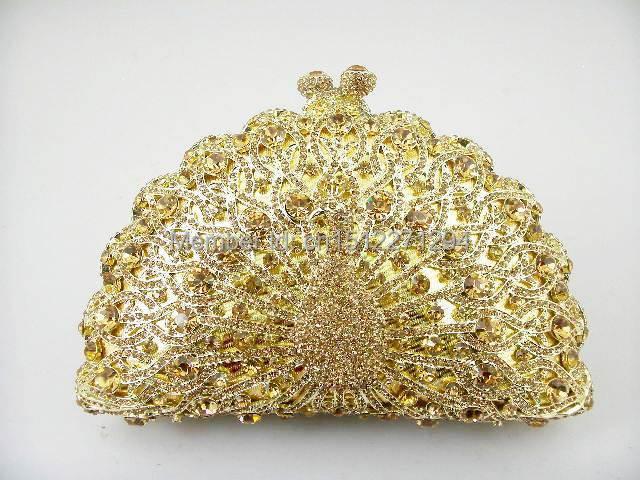 9105GO gold Crystal Peacock Animal Bird Wedding Bridal Party Night hollow Metal Evening purse handbag clutch bag(China (Mainland))