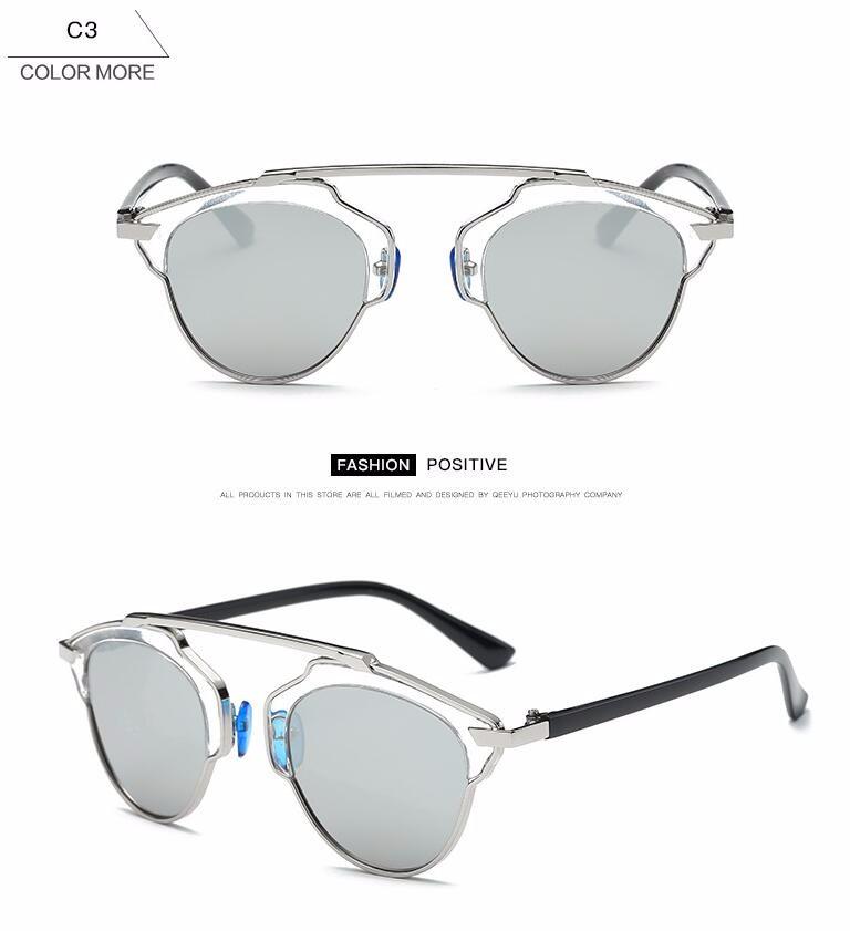 2017 Fashion Cat Eye Sunglasses Women Vintage Brand Designer Cateye Rose Gold Mirror Sun Glasses Retro Ladies  real Sunglasses