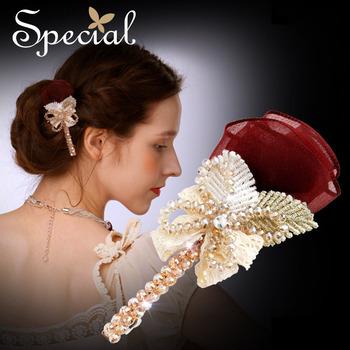 Special New Fashion Hair Accessories Silk Crystal Handmade Hair Pins Romantic Red Rose Bride Hair Accessories for Women FS141111
