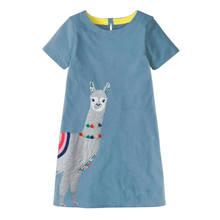 Crianças Vestidos para Meninas Vestidos de Verão 2019 vestido de Bebê Menina Veste Traje Unicórnio Listrado Padrão Animal Princesa Vestido de Dinossauro(China)