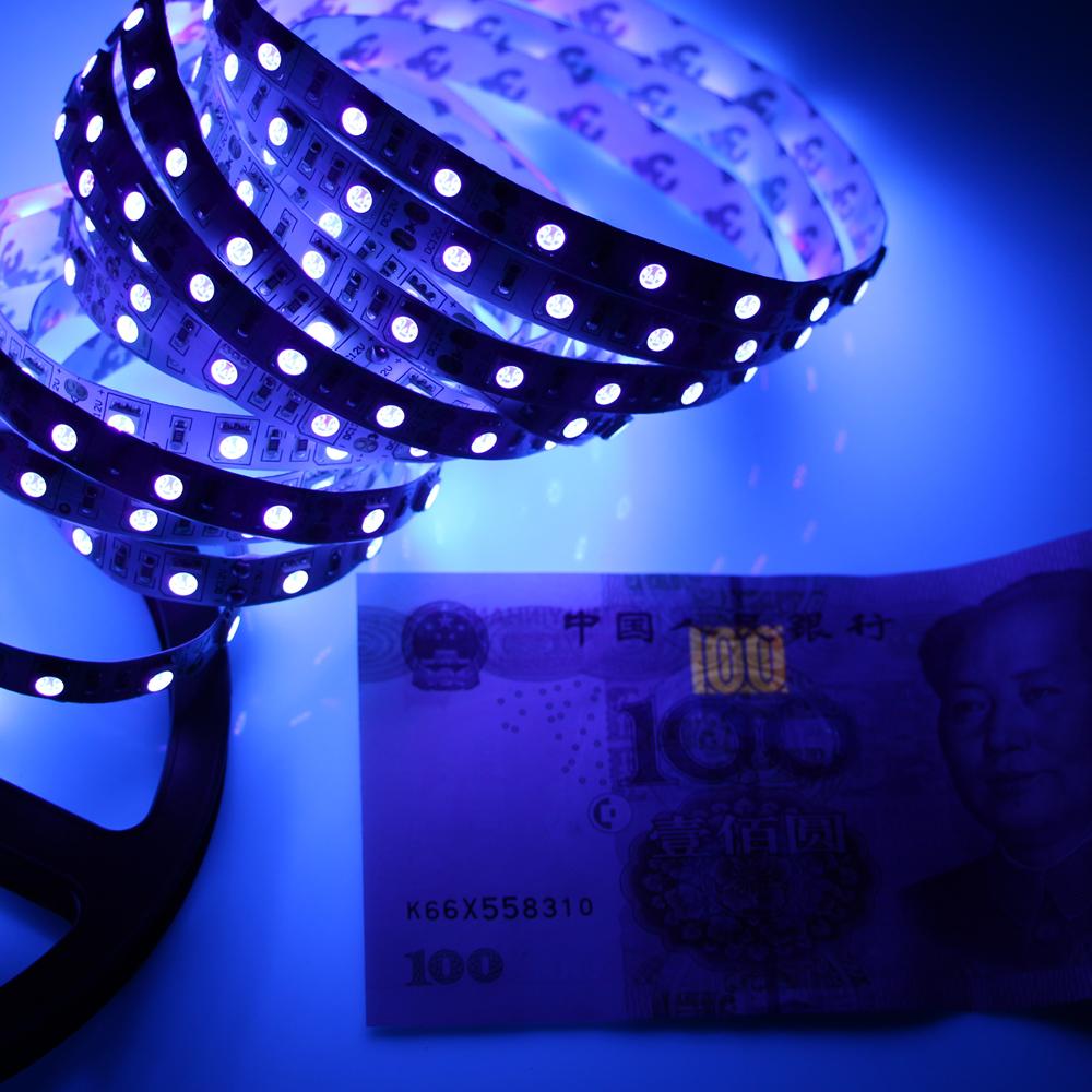 DC12V 1/2/3/4/5m 5050 SMD 60led/m UV 395-405nm Ultraviolet waterproof Purple Led Flexible Strip Light Tape Black lamp lighting<br><br>Aliexpress