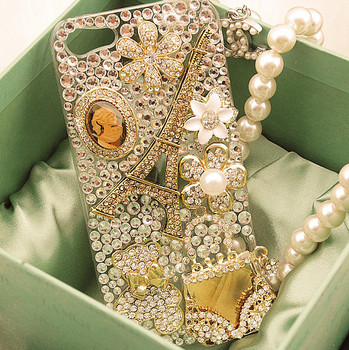 1pc free shipping diamond flower tower and bag  phone case for iphone 5 5s mobile phone case shell