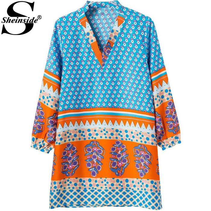 Sheinside Casual Women Novelty Design Clothes Spring Top Fashion 2015 Brand Vestidos Blue V Neck Florals Loose Mini Dress(China (Mainland))