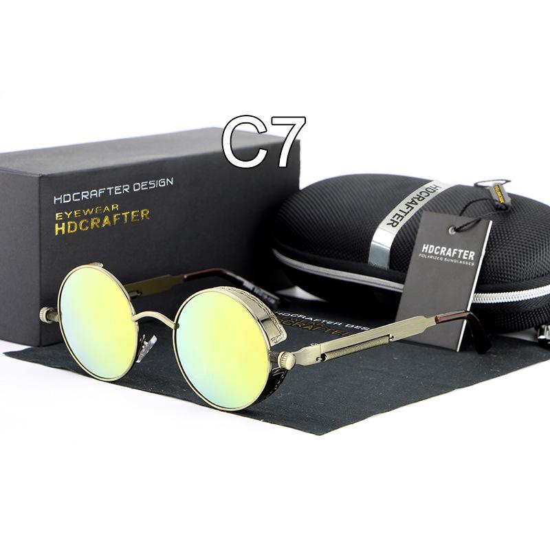 HDCRAFTER Women Classic Retro Design Steampunk Sunglasses Round Sunglasses Vintage Oculos De Sol Feminino