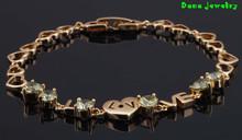 Cute jewelry ! Inlay Peridot Bracelets , 18K Gold Bracelet , fashion jewelry Bracelets B034 Heart Styles(China (Mainland))