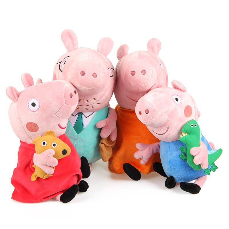 brinquedos Pelucia Baby Anime Pink Red Poppa pepper Pepa Pig Toys Plush Pepa Pig family Familia Set Doll Daddy Mummy George(China (Mainland))