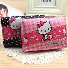 2015 Hot Fashion hello kitty girls Women Wallets handbag solid PU Leather Long bag clutch Lady brand Cash phone card coin Purse