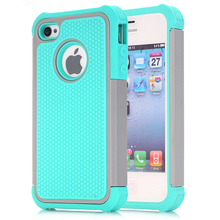 For iPhone 4 4S Case,WEFOR Hybrid Dual Layer Protective Case Cover with Hard Plastic and Soft Silicone for iPhone 4S & iPhone 4(China (Mainland))