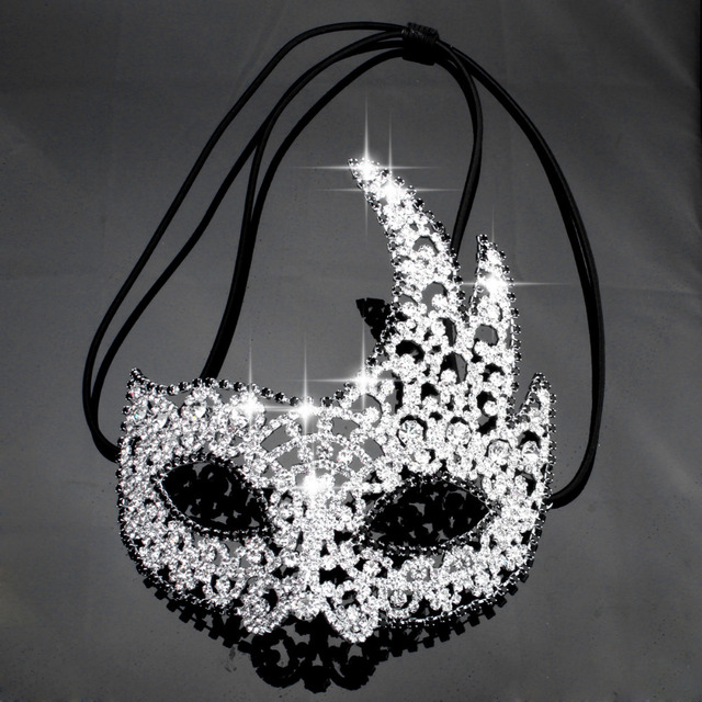 Women Gothic Black Rhinestone Flower Luxury Venetian Masquerade Mask