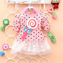 2014 Newest Fashion Spring Kids Sweater Greatly Lollipop Full Version Dot Girls T-shirt Stitching Baby Girls lace Dresses