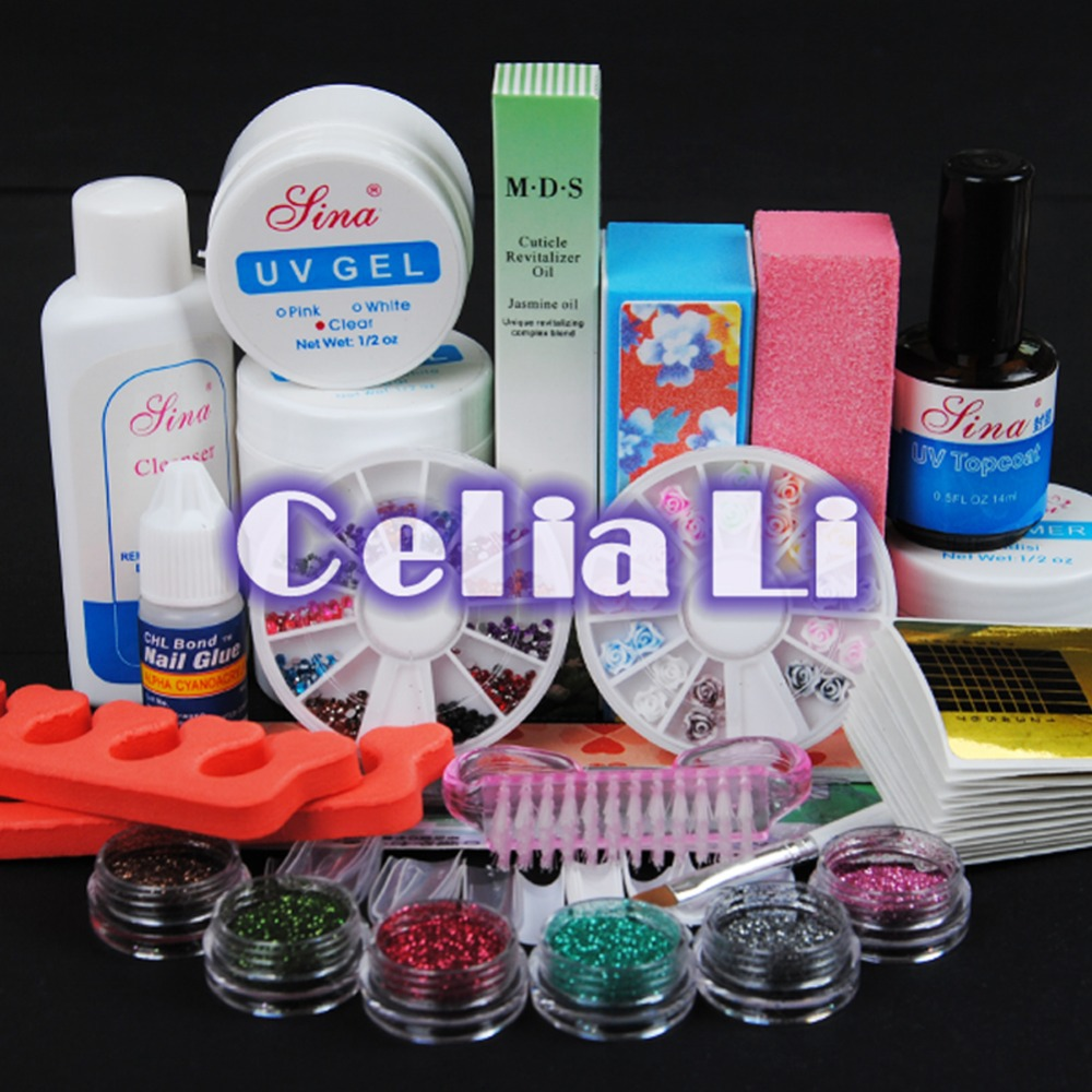 7 Days delivery USA Warehouse UV GEL Polish false tips Glitter Primer Gel Nail Form nail Art Tools set Free shipping(China (Mainland))
