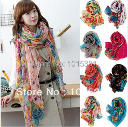 Fast delivery Korean female models Winter Garden Floral scarves shawl scarf sun flowers blooming beach towel - iFashion Forward store