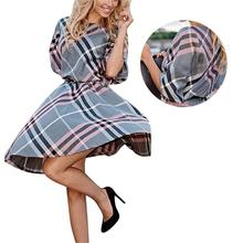Fashion Women Retro Half Sleeve Plaid Checks Dress Crew Neck Shirt Knee Dresses Hot 2016 TY 5