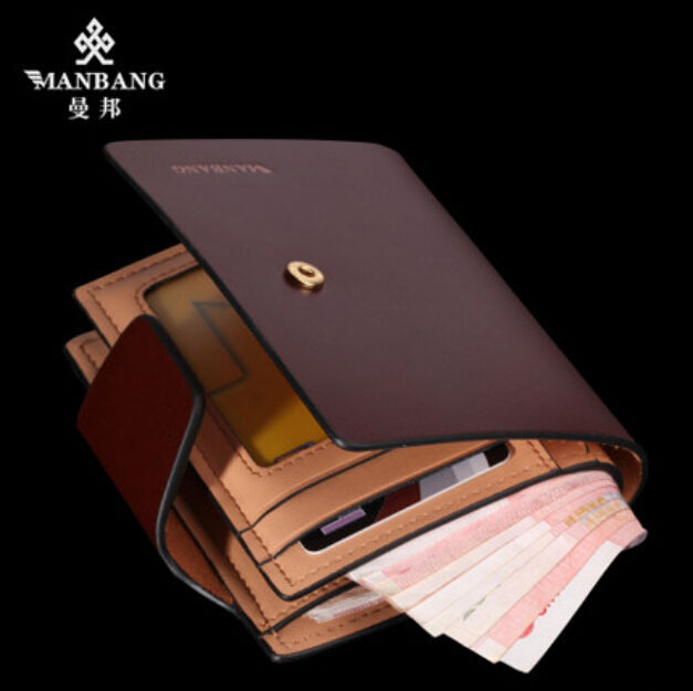 Luxury brand cowskin leather wallet Genuine leather purse Popular Designer short brown money bag purse free shipping MBQ6341BZ(China (Mainland))
