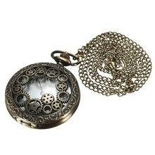 Best Promotion!! Fashion Unisex Vintage Antique Bronze Steampunk Quartz Pocket Watch Chain Pendant Necklace Gift(China (Mainland))
