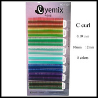 2Sets/lot Rainbow Colorful False Eyelashes 8 Colors 0.10 thickness C curl 10mm 12mm Individual Eyelash Extension