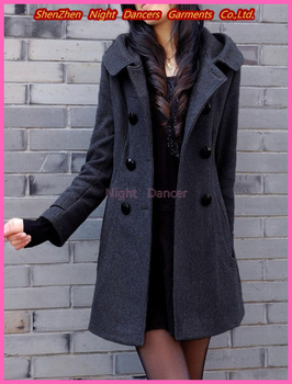 2013 Fashion autumn and winter Long double-breasted wool coat Slim Hooded jacket plus size Casual women's overcoat