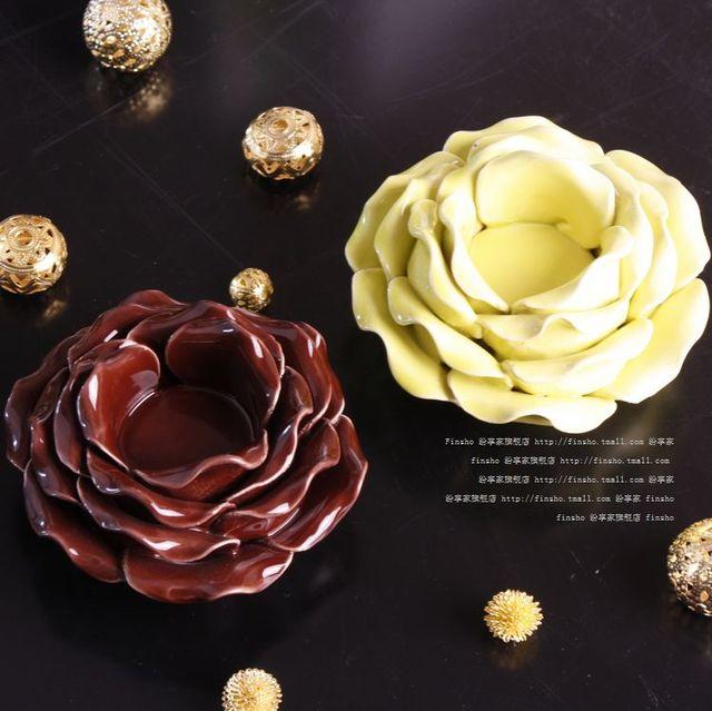 Romantic fashion rustic ceramic decoration petal candle station candle light a028