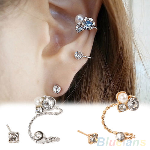 1 Pc Women's Lady's Elegant Pearl Rhinestone Ear Clip Ear Earrings Jewelry 2MP6 2OFZ(China (Mainland))