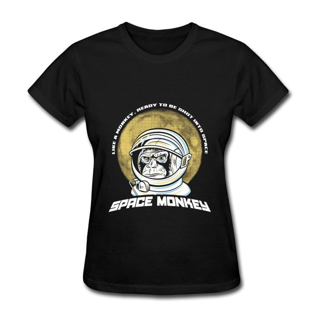 Тройник - рубашка женщины приталенный Fit животное обезьяна из космоса обычный футболки женщины в