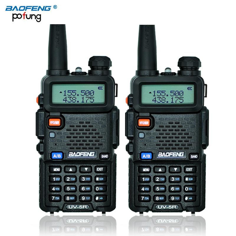 Russian stock 2PCS Black BaoFeng UV-5R talkie walkie transceiver CB radio baofeng uv5r 5W VHF UHF Dual Band two way radio(China (Mainland))